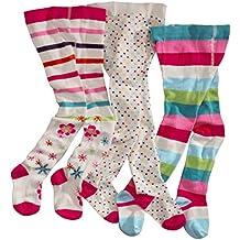 Leotardos para niña Wellyou, 3 pares, color crudo, alto porcentaje de algodón