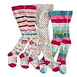 wellyou, Kinder-Strumpfhosen für Mädchen 3er Set, Baby-Strumpfhosen ecru, hoher Baumwoll-Anteil, Größe 62 - 68