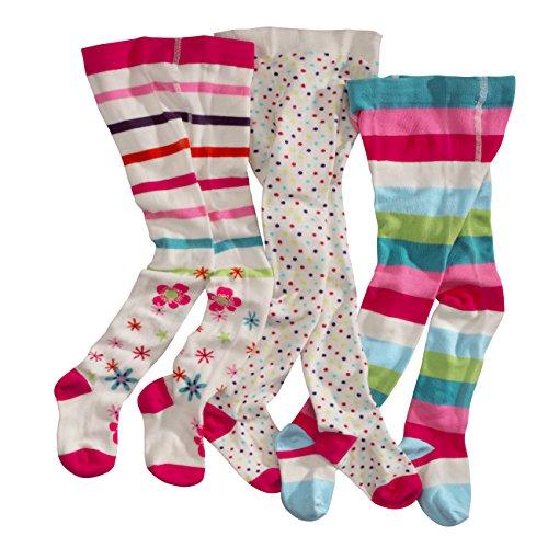 wellyou, Kinder-Strumpfhosen für Mädchen 3er Set, Baby-Strumpfhosen ecru, hoher Baumwoll-Anteil, Größe 134-146