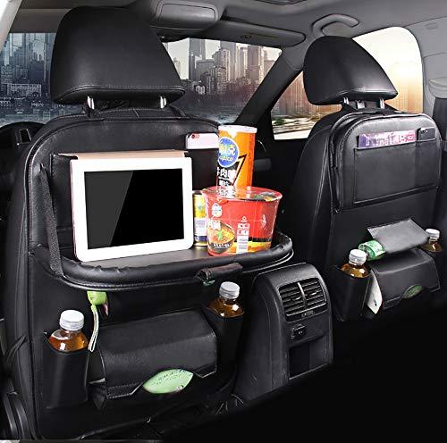 DOSNVG PU-Leder-Rücksitz-Organizer, Wasserdichte Multifunktionssitzschoner - Multi-Taschen einschließlich Tissue-Box-Tray-Plattform und iPad-Mini-Halter (2PCS), Black - Black Leder-plattform