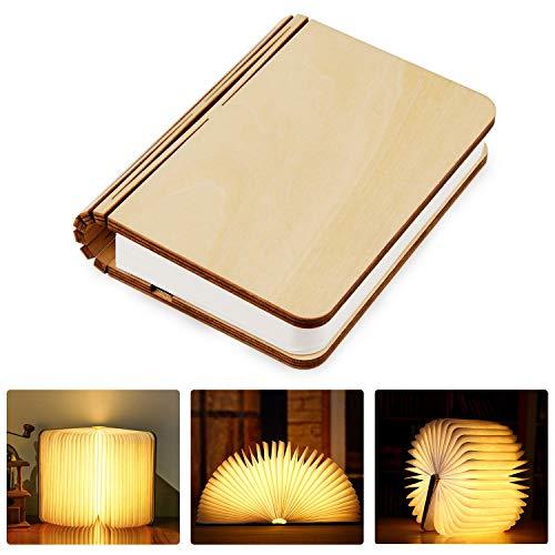 Tronisky Mini Lampada Libro, USB Ricaricabile Pieghevole in Legno Magnetico LED Luce Lampada a Forma di Libro Luce Notturna Creativa Decorative Lampada da Tavolo, 880 mAh, B