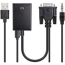 zacro cable de conversor de vga a hdmi con alimentacin usb y soporte de audio para