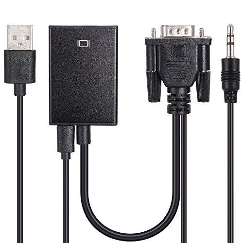 Zacro Cable de Conversor de VGA a HDMI con Alimentación USB y Soporte de Audio para TV Ordenador Proyector Smart TV Box Portátil, Resolución de 720P