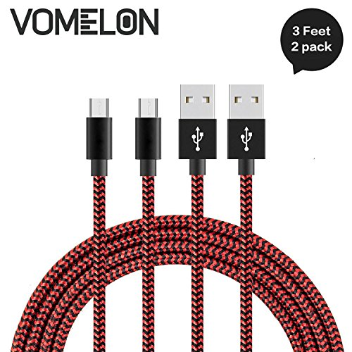 Preisvergleich Produktbild Micro USB Kabel, [3FT-2Pack] Nylon geflochten Schnelle Geschwindigkeit Sync & Ladekabel A Male to Micro B für Samsung, HTC, LG, HP, Sony, Most Android und weitere Smartphones-[Rot + schwarz]