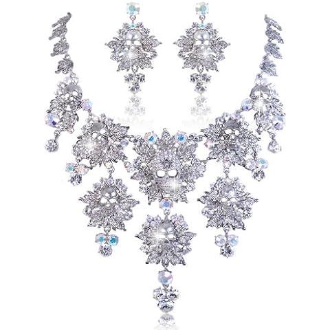 EVER FAITH® orecchini collana silver-tone Skull foglio floreale Set cristallo Halloween austriaco