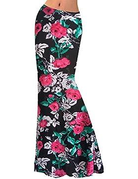 Mujer Falda Larga de noche Verano Bohemia Boho Estampada Flores Vintage XL 1