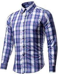 WSLCN Homme Chemise à Carreaux Ajustée Manches Longues Button Down Shirts Contraste Couleurs