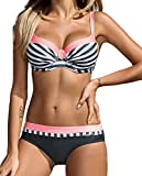 AHOOME Damen Bikini Push Up Gepolstert Streifen rayures Triangel Brasilianische Bademode Bikini-Sets(Rosa,XXL)