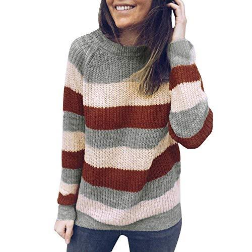 FuweiEncore Pullover Sweatshirt Damen Bluse Frauen Mode Tops Lose Rundhals Gestreift Gestrickt Langarm Casual Langarmshirts Beiläufige Strickwaren Oberteile (Farbe : Rosa, Größe : EU-42/CN-XL)