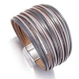 Daawqee Bracelets pour Femme, Bohemian Leather Bracelets for Women Ladies Slim Strips...
