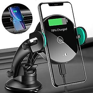 USAMS Qi Ladestation Auto, Wireless Charger Handyhalterung Kfz Handy Halterung Induktiv Induktion Autohalterung für iPhone XS Max/XR/X/8 Plus, Huawei Samsung Galaxy S10/S9/S8/S7 Note 10/9/8 [Neu]