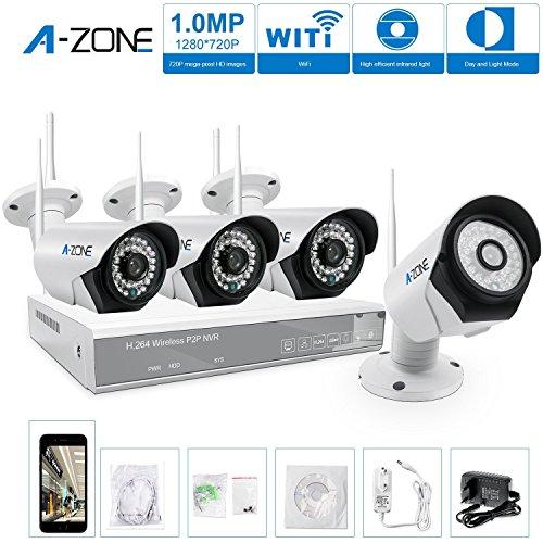 A-ZONE 4 Canales Sistema de Videovigilancia CCTV 960P NVR 4x 1.0MP IP Cámara de Seguridad Wifi Infrarroja Exterior (Without HDD)