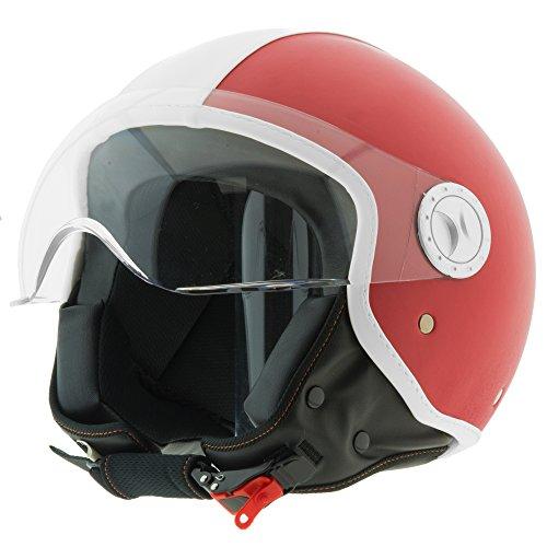 Casco moto demi jet in pelle custom scooter omologato ece r22-05 visiera sole sferica antigraffio (l, rosso)