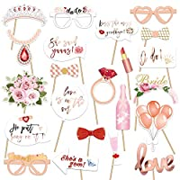Konsait 23Pcs Hen Party Photo Booth Props Team Bride Selfie Props Rose Gold Wedding Bridal Shower Hen Night Do Party Game Accessories
