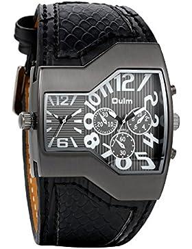 avaner Cool Herren Militär Sport Armbanduhr Dual Movt 2Time Display Quartz Armbanduhr mit schwarz Leder Band