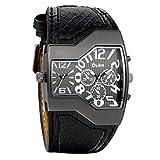 Avaner Herren-Uhr Armbanduhr Cool Herren Militär Sport Armbanduhr Dual Movt 2 Time Display Quartz Armbanduhr mit schwarz Leder Band