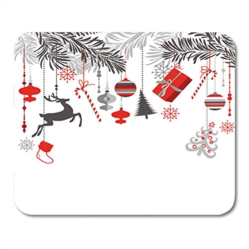 Gaming Mauspads, Gaming Mouse Pad Christmas in Grey Red White and Black Colors Tree Branches Ornaments Hanging 11.8