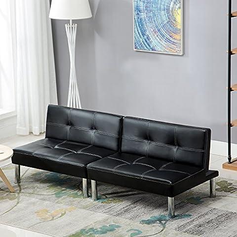 UEnjoy Canapé Convertible Canapé-lit en PU Cuir Noir