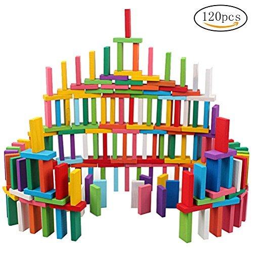 Siming 120 PCS Domino-Set, Bunt Holz Dominosteine Set Blöcke Set Building Kits Educational Racing Spielzeug Spiel für Kinder Kinder Erwachsene (Holz Domino Set)