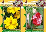 #5: Flower Seeds By Airex Yellow Cosmos and Balsam Rose Gulab (Summer) Flower Seed (Pack of 25 Seed * 2 Per Packet)