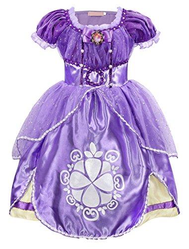 AmzBarley Prinzessin Sofia Kostüm Kleid Kinder Mädchen Verkleidung Party Schick Kleider Halloween Karneval Cosplay Geburtstag Ankleiden Zeremonie Festzug Kleidung Abendkleid