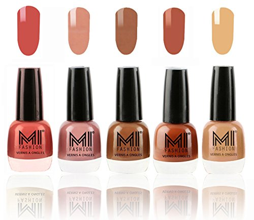 Mi Fashion Ultimate Nude Nail Polish Combo, Peach, Candy Cotton, Dark Nude, Olive Brown, Flirty Nude, 60ml (5 Pieces)