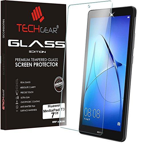 """vetro temperato tablet 7 pollici TECHGEAR Vetro Temperato Compatibile con Huawei MediaPad T3 7 (7"""" Schermo) - Autentica Pellicola protecttiva in Vetro Temperato Salvaschermo per Il Huawei Mediapad T3 7"""" Tablet"""