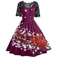 Cebbay Liquidación Navidad Faldas Mujer Vestido de Navidad Faldas largas Vestido de Encaje Vintage Vestido de Noche Elegante Fiesta de Bodas Bendicion Navidad