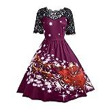 YWLINK Elegant Damen Spitzenkleid Weihnachtsfest Kleid Damen Vintage UnregelmäßIg Drucken Weihnachtsschaukel Cocktailkleid
