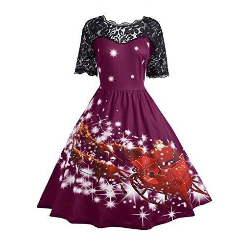 Robemon♚Élégant Robe de Noël Femme Manches Longues Impression Robes Femme Piecing Lace Rétro Hepburn Style A-Line Parti Nuit Swing d'impression Robe Femme