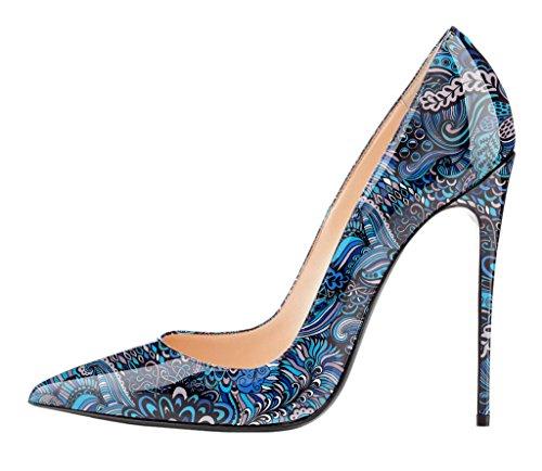 EDEFS Spitze Damen Pumps,Lack High Heels,Stiletto Jahrgang Damenschuhe,Klassische Mehrfarbig Pumps Blau