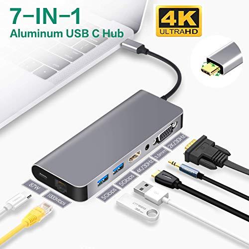 GRASSAIR USB C-Hub, VGA-zu-HDMI-4K-VGA-Hub Samsung Dex Station für Samsung S9 / S8 / Note 9/8, mit 2 USB 3.0-Anschlüssen, Aduio-Buchse, PD für MacBook Pro und Anderen USB C-Geräten