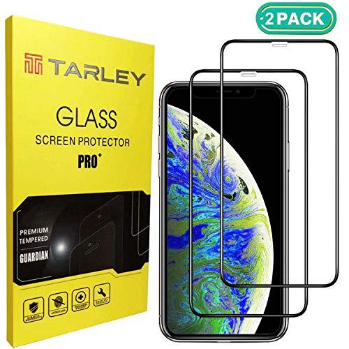 TARLEY® Panzerglas für iPhone XR 6.1 Zoll,9H Härte 0.33mm 3D Displayschutzfolie/Panzerfolie/Schutzglas Anti-Kratzen,Anti-Bläschen transparent schwarz 2 Stück -
