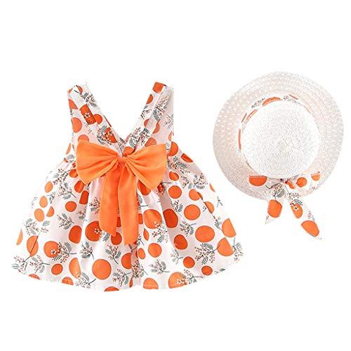 LSAltd Kleinkind Baby Kinder Mädchen Sommer Süße Blumen Polka Dot Print Bowknot Sling Prinzessin Kleid Mit Hut Outdoor Strand Schönes Outfit Set (Süß Aussehendes Mädchen)