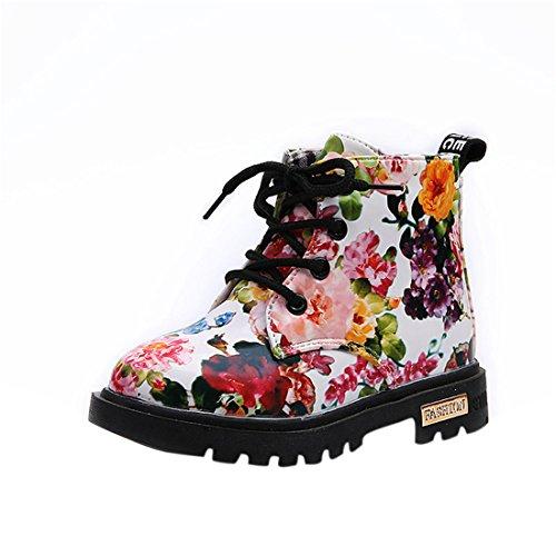 FRIENDGG Kinder Stiefel,Baby Mädchen Mode Blumen Casual Warm Martin Stiefel (30, Weiß) (Western-stiefel Baby,)
