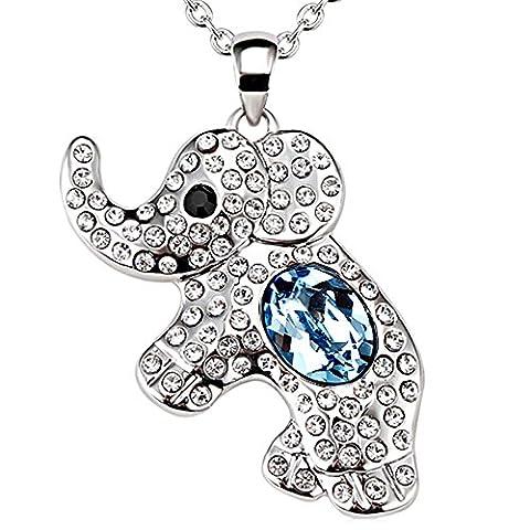FANSING Jewellery Rhodium Plating Austrian Crystal Elephant Pendant Necklace Ocean