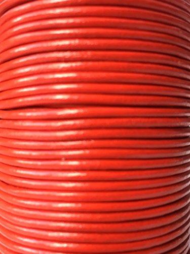 Vaches en cuir rouge véritable de qualité Cordon en cuir rond de 2 mm Fil Cordon Bijoux fil Corde String, Cuir, noir, 3 metres