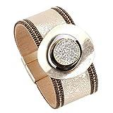 SHUAIHAITAO Pulseras redondas del encanto del metal para las mujeres pulseras y brazaletes de cuero anchos femeninos del color del oro de la joyería femenina,Style1
