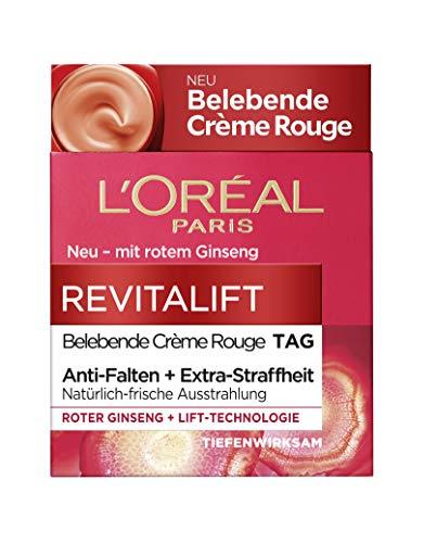 L'Oréal Paris Revitalift Belebende Crème Rouge Tagespflege, mit rotem Ginseng, glättet die Haut...