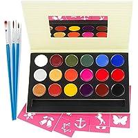 Face Painting Palette de Maquillage Enfants Professionnel,18 Couleurs Peinture Kit Maquillage Enfants Adultes, Halloween Parade Party/Pâques/Fête à Thème Déguisements