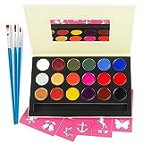 Kinderschminke Set Face Paint, Kinder Make-up-Set für Parteien & Karneval, 18 Farbe, Schablonen, Glitter, ungiftig