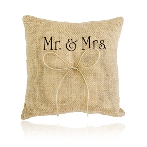 ULTNICE Mr Mrs Wedding Ring Bearer Pillow Cushion with Bowknot 20x20cm