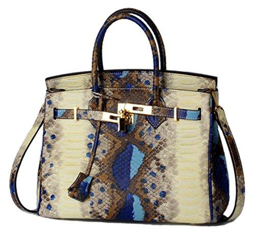 Greeniris Frauen-echtes Leder-Handtaschen -Dame Moderne Handtaschen Schulter-Beutel-Kreuz-Körper Taschen Trage Top-Griff Taschen Grün Blau