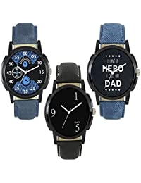 Royal India OverseasNew Stylish And Attractive LM Blue And Black Blue Nice Colour Of 3 Combo Watch For Boys And...