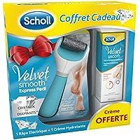 Scholl Velvet Smooth coffret râpe pieds électrique exfoliante avec crème hydratante