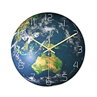 Luminous Oceania Area Shape Wall Clock Battery Powered Hanging Clock Glow in The Dark for School Office Kitchen No Battery Size M