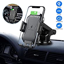 Hugomega Qi Fast Wireless Car Charger Mount Automatic Clamping Wireless Car Charger Wireless Car Phone Holder 5W/7.5W/10W for Phone 11/11 Pro/11 Pro Max/XR/XS Max/X/8/8+ Galaxy Note 10/S10/Note 9/S9