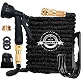 Flexible Garden Hose Pipe 100FT, 3 Times Expanding Flexible Magic Lightweight Watering Hose pipe with 8 Function Spray Gun/So