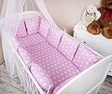Amilian® Baby Bettwäsche Design II: Pünktchen rosa Nestchen Bettset 100x135 für Babybett Decke Kissen Bettumrandung
