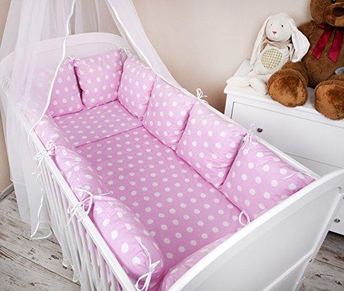 Baby-Set di biancheria da letto con copripiumino e federa cuscino per lettino, con paracolpi, motivo a pois, II, 100 x 135 cm, colore: rosa